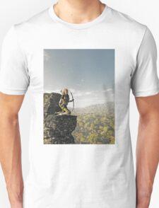 Blonde Female Elf Archer above the Forest Unisex T-Shirt