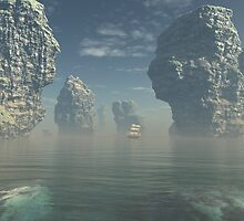 Sailing Ship and Giant Sea Stacks by algoldesigns