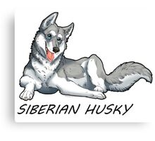 Husky love - Silver Canvas Print