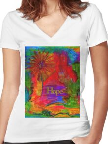 Brighter Days Ahead Women's Fitted V-Neck T-Shirt