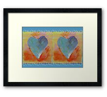 Two Painted Hearts with XOXO Framed Print