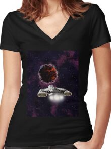 Outer Space Entity Women's Fitted V-Neck T-Shirt