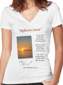 Reflective Sunset Women's Fitted V-Neck T-Shirt