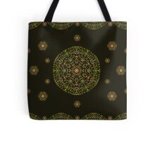 Gold Mandala with Black background Tote Bag