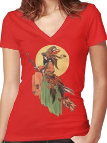 Autumn Witch Women's Fitted V-Neck T-Shirt