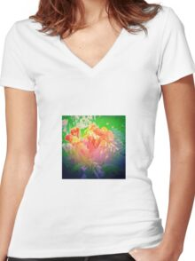 Flower Petals Ablaze Women's Fitted V-Neck T-Shirt
