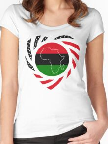Black Murican Patriot Flag Series 2.0 Women's Fitted Scoop T-Shirt