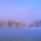 Detroit Shrouded In Fog by Barry W  King