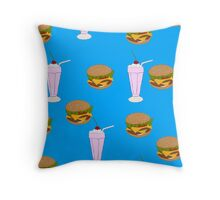 Cheeseburger & Milkshake Pattern Throw Pillow
