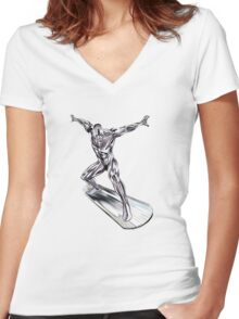 GREAT WAVE - SURFER Women's Fitted V-Neck T-Shirt