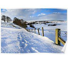 Winter Fields - County Durham. UK Poster