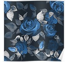 Crazy roses. Blue Poster