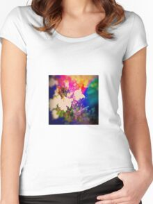 Summer Flower Basket Drenched in Rainbow Women's Fitted Scoop T-Shirt