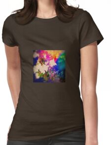 Summer Flower Basket Drenched in Rainbow Womens Fitted T-Shirt