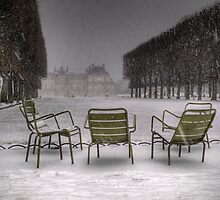 Chairs under the snow, Paris by Laurent Hunziker