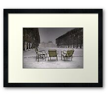 Chairs under the snow, Paris Framed Print