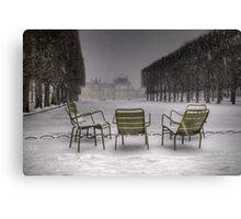 Chairs under the snow, Paris Canvas Print