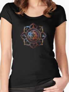Om Lotus Flower Yoga Poses Women's Fitted Scoop T-Shirt