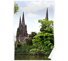 Lichfield Cathedral from Minster Pool Poster