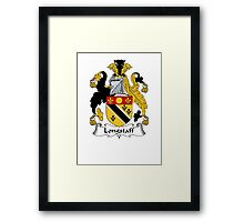 Coat of arms (family crest) for last-name or surname Longstaff . Heraldry banner for your name. Framed Print