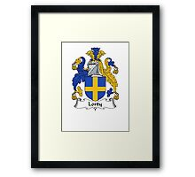 Coat of arms (family crest) for last-name or surname Lorty . Heraldry banner for your name. Framed Print
