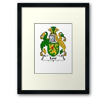 Coat of arms (family crest) for last-name or surname Love II . Heraldry banner for your name. Framed Print