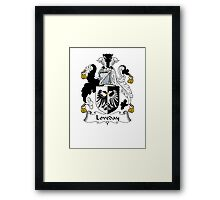 Coat of arms (family crest) for last-name or surname Loveday . Heraldry banner for your name. Framed Print