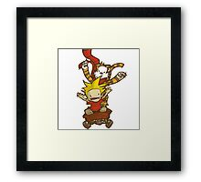 calvin and hobbes happy Framed Print
