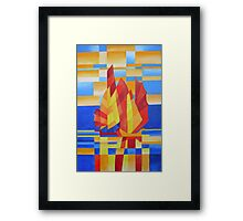 Sailing on the Seven Seas so Blue Cubist Abstract Framed Print