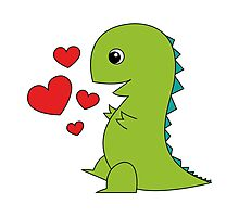 In Love T-Rex Photographic Print