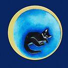 Moon Dreams with the sleeping cat by Marikohandemade