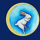 Moon Dreams with the sleeping bunny  by Marikohandemade