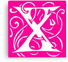 Letter 'X' in Vintage Monogram Pink Retro Script Canvas Print