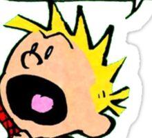 calvin and hobbes scream Sticker