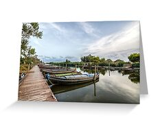 Boats in a lagoon port. Valencia Greeting Card