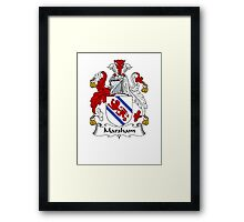 Coat of arms (family crest) for last-name or surname Marsham . Heraldry banner for your name. Framed Print