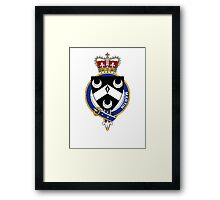 Coat of arms (family crest) for last-name or surname Martin (Scotland) . Heraldry banner for your name. Framed Print