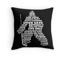 Hockey Goalie Typography Throw Pillow