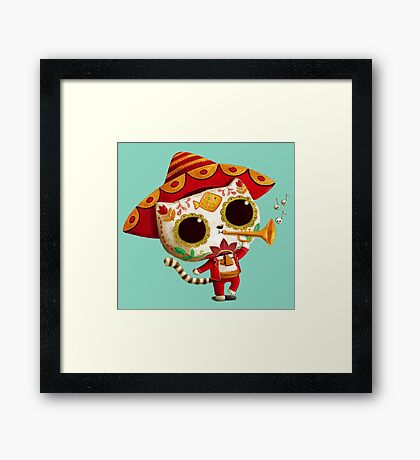 The Day of the Dead Cute Cat El Mariachi Framed Print