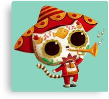The Day of the Dead Cute Cat El Mariachi Canvas Print