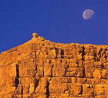 moonrise over balancing rock- Lake Powell by David Chesluk