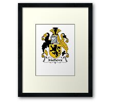 Coat of arms (family crest) for last-name or surname Mathews . Heraldry banner for your name. Framed Print