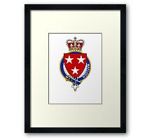 Coat of arms (family crest) for last-name or surname Matlock (England) . Heraldry banner for your name. Framed Print