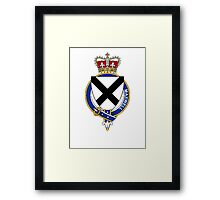 Coat of arms (family crest) for last-name or surname Maxwell (Scotland) . Heraldry banner for your name. Framed Print