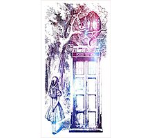 Alice In Wonderland Doctor Who Police Box Tardis Photographic Print