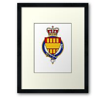 Coat of arms (family crest) for last-name or surname May (England) . Heraldry banner for your name. Framed Print