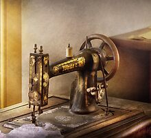Sewing - A black & white sewing machine  by Mike  Savad
