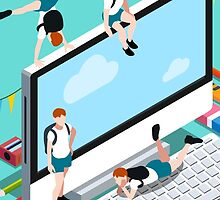 School Devices Set Desktop Personal Computer by aurielaki