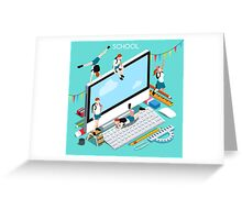 School Devices Set Desktop Personal Computer Greeting Card