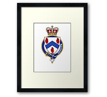 Coat of arms (family crest) for last-name or surname Maynard (England and Ireland) . Heraldry banner for your name. Framed Print